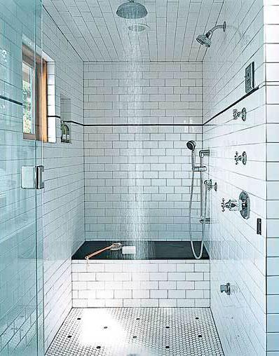 Baño Pintado De Amarillo:White Subway Tile Bathroom Shower