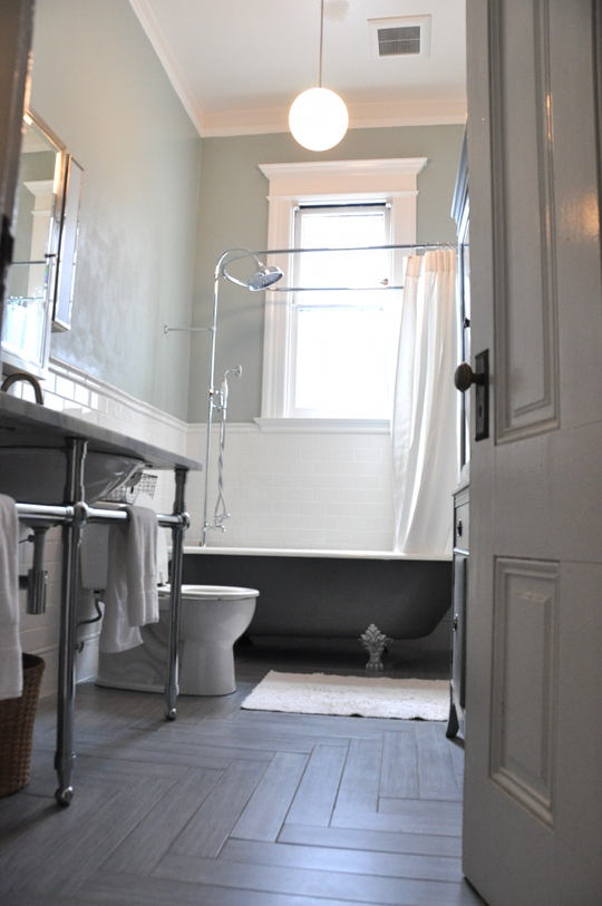 Azulejos Baño Vintage:Herringbone Bathroom Floor Tiles